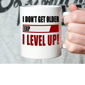 Funny Daddy Grandpa Gifts Coffee Mug I Don't Get Older Exp I Level Up, Printed on Both Sides!