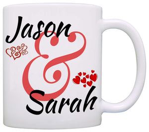 Personalized Couples Wedding Anniversary Gift Mug, Romantic His and Her Coffee Cup, Printed on Both Sides!