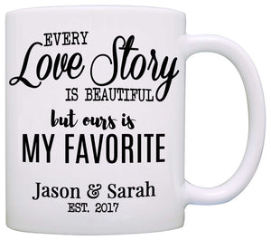 Personalized Romantic Couples Names Gift Coffee Mug for Wedding Anniversary Valentines Day and Christmas, Printed on Both Sides!