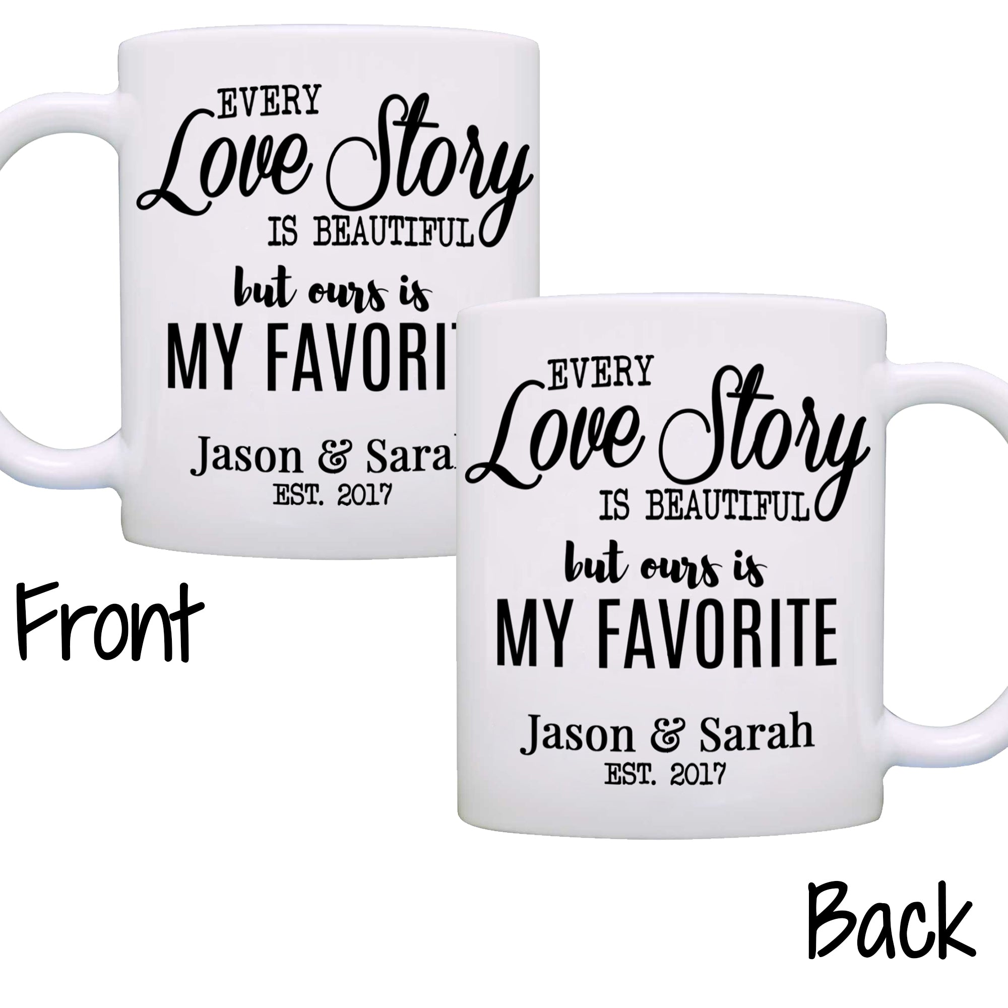 Personalized Romantic Couples Names Gift Coffee Mug for Wedding ...
