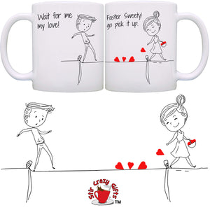 Personalized!! Faster Sweetie Go Pick It Up Couples Mug - Printed on Both Sides - 2 Sets