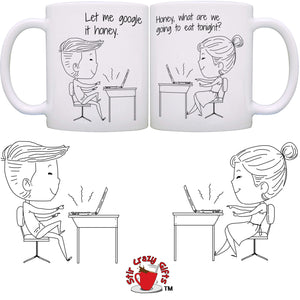 Personalized!! Work At Home Together Couple Mugs - Printed on Both Sides - 2 Sets
