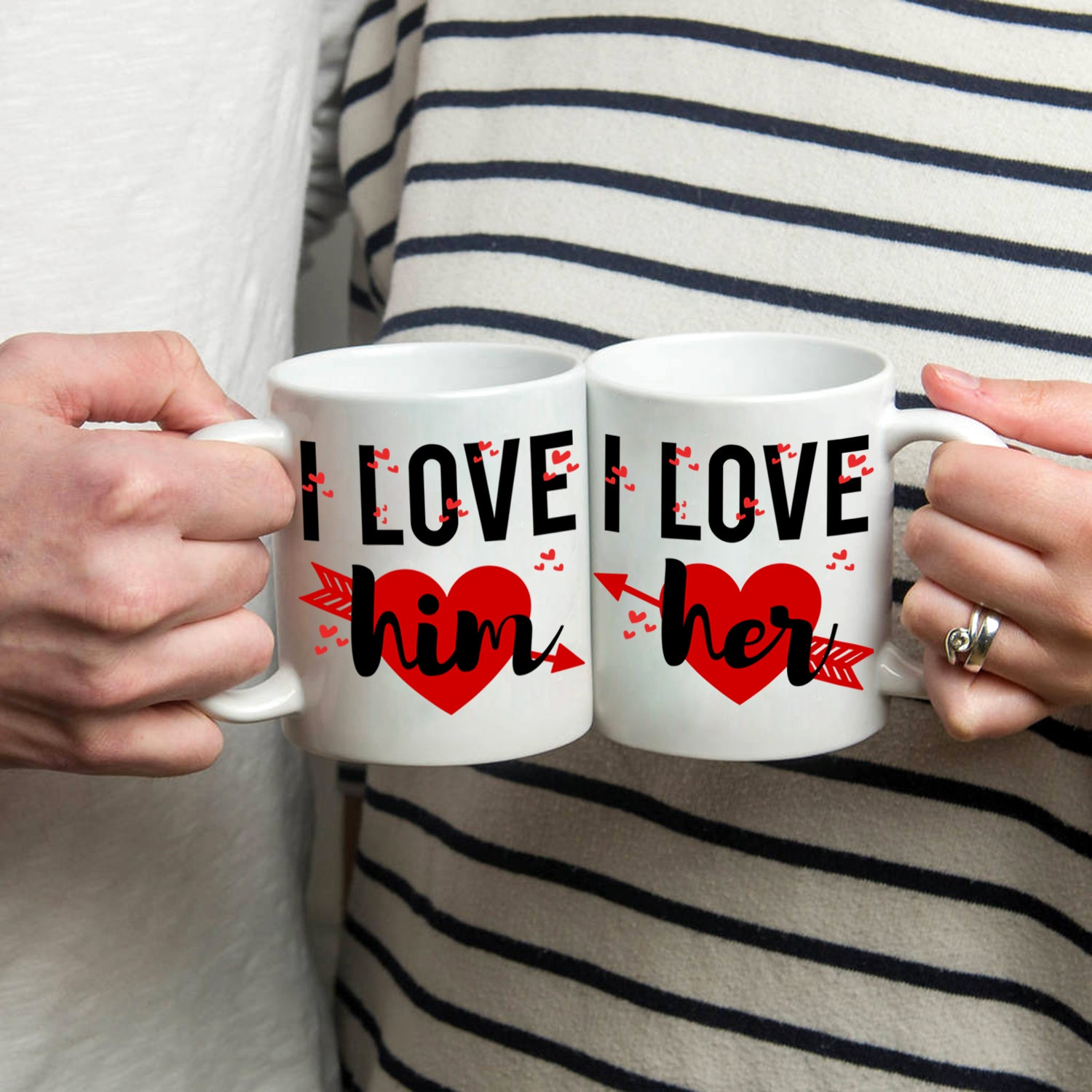 Romantic I Love Him And Her Couples Coffee Cup Set Stir Crazy Gifts