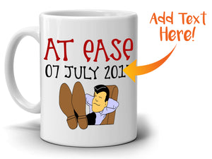 Personalized! Funny Retirement Gift Mug for Men and Women Retirees At Ease 2017, Printed on Both Sides!