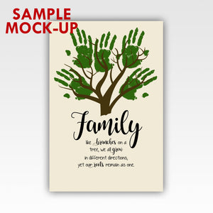 Personalized!! Family Tree Hand Print Wall Art Decor Gifts Canvas Wrapped Print
