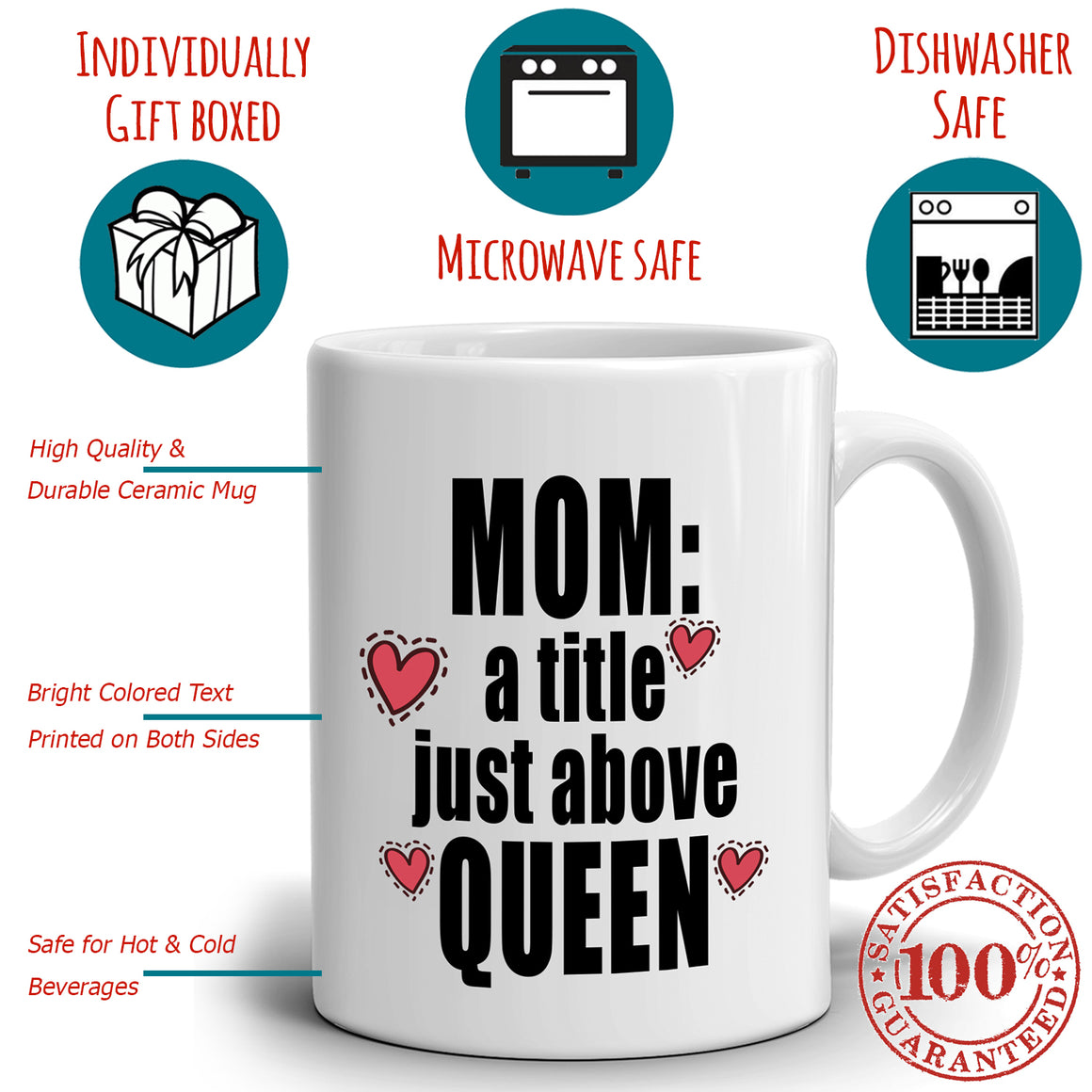Funny Mothers Day Birthday Gifts Mug for Mom A Tittle Just Above Queen Coffee Cup, Printed on Both Sides!