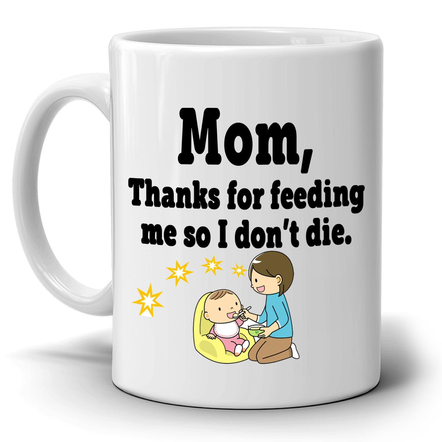 Funny Mothers Birthday Gifts Mug Mom Thanks For Feeding Me So I Dont Die