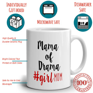 Funny Daughters Gifts for Mothers Day Mug Mama of Drama #Girl Mom, Printed on Both Sides! - Stir Crazy Gifts