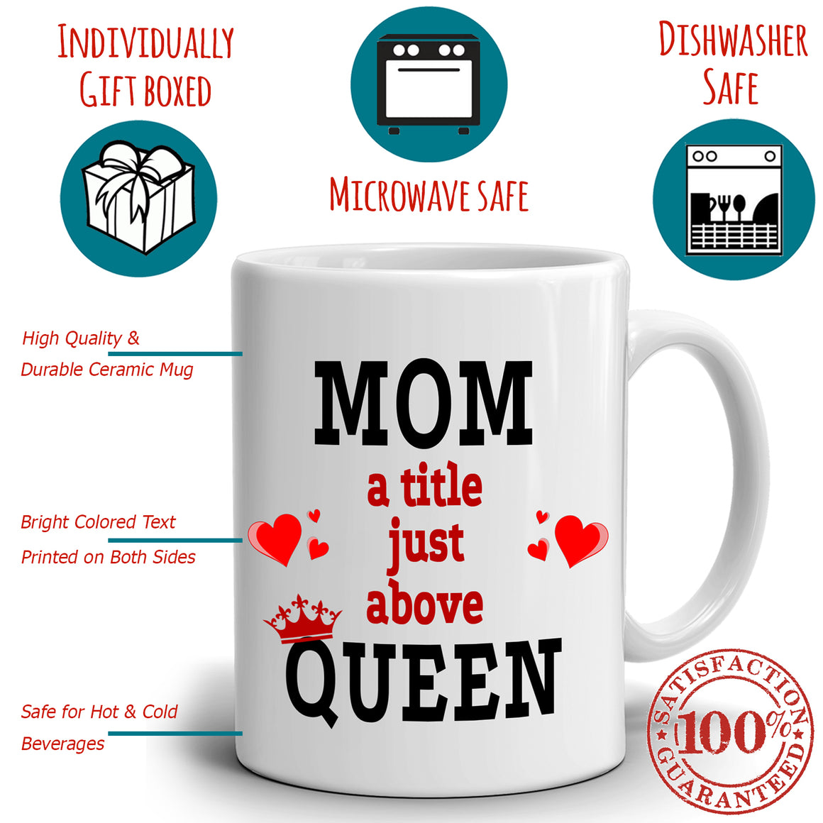 Funny Supermom Gift Mug Mom A Little Just Above Queen Coffee Mug, Printed on Both Sides!