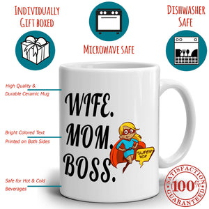 Cool Supermom Birthday Gift Mug Wife Mom Boss Coffee Cup, Printed on Both Sides! - Stir Crazy Gifts