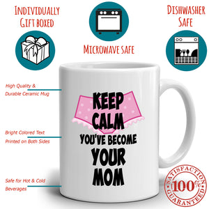 Keep Calm You've Become Your Mom First Mothers Day Gift Mug, Printed on Both Sides!