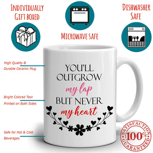 Birthday Present For Mom Gift Mug You'll Outgrow My Lap But Never My Heart, Printed on Both Sides!