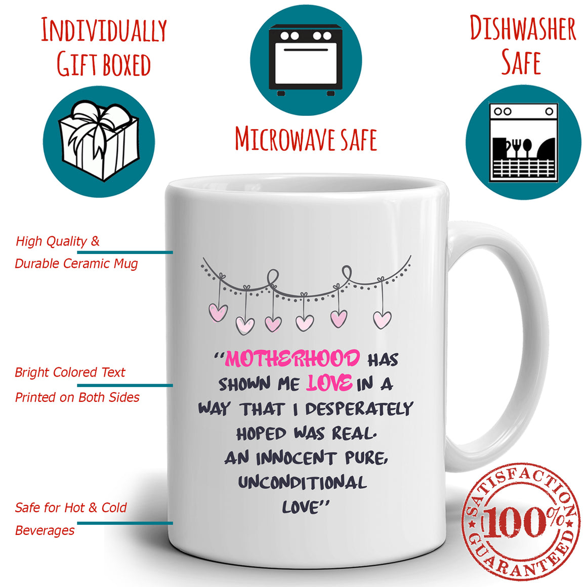 Moms Mothers Day Gifts Mug Motherhood Has Shown Me Love In A Way That I Desperately Hoped Was Real. An Innocent Pure Unconditional Love, Printed on Both Sides!