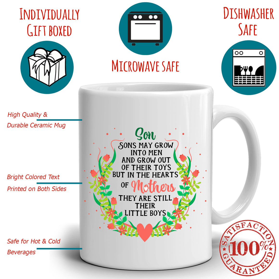 Inspirational Mom and Sons Coffee Gift Mug Mothers Day Present, Printed on Both Sides!