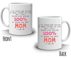 Inspirational 100% Mom and Grandmothers Gifts Coffee Mug Present for Mothers Day, Printed on Both Sides! - Stir Crazy Gifts