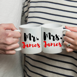 "Personalized ""Mr"" and ""Mrs"" Couple's Coffee Mug Set - Stir Crazy Gifts"