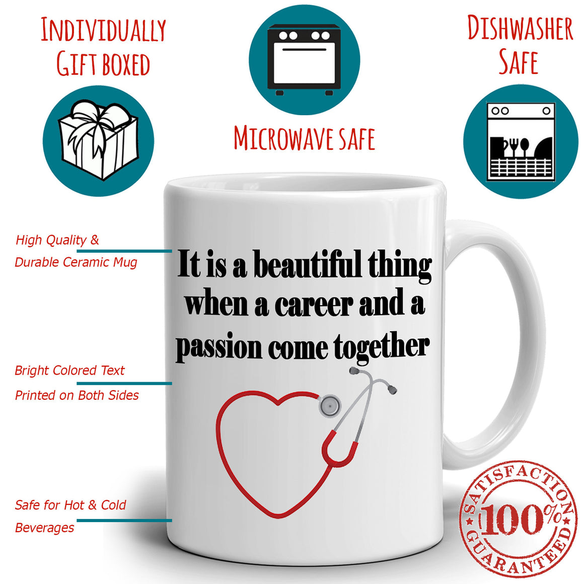 Inspirational Doctors and Nursing College Graduation Gifts for Nurse Coffee Mug, Printed on Both Sides!