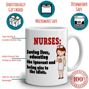 Funny Registered Nurse Gifts for College Nursing Students Coffee Mug , Printed on Both Sides!