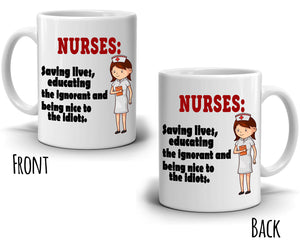Funny Registered Nurse Gifts for College Nursing Students Coffee Mug , Printed on Both Sides! - Stir Crazy Gifts
