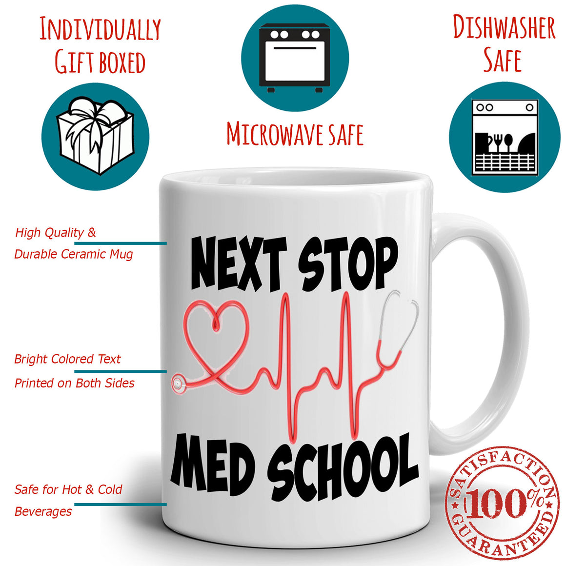 Doctors And Nursing College Students Gifts Coffee Mug Next Stop Med School, Printed on Both Sides!