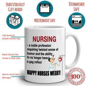 Funny Happy Nurse Week Gifts for Nurses Coffee Mug, Printed on Both Sides! - Stir Crazy Gifts