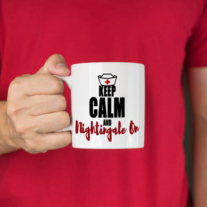 Registered Nursing Gifts for Female Nurses Coffee Mug Keep Calm And Nightingale On, Printed on Both Sides!