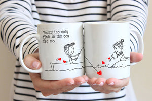 Personalized!! Fishing Your Love Couples Mug - Printed on Both Side - 2 Sets