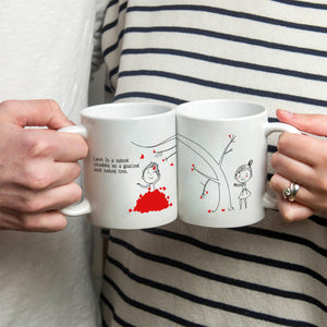 Personalized!! Picking Your Hearts High Up The Tress Couples Mug - Printed on Both Sides - 2 Sets