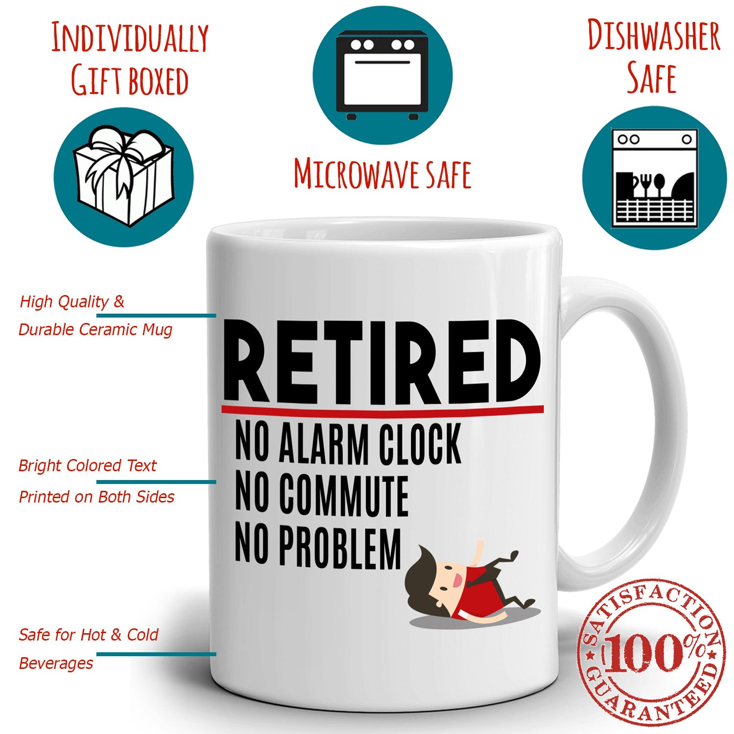 Funny Humorous Retirement Gifts For Women And Men Mug Retired No Alarm Stir Crazy Gifts