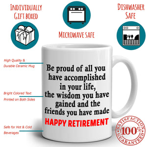 Inspirational Happy Retirement Gift for Retired Teacher Coffee Mug, Printed on Both Sides! - Stir Crazy Gifts