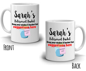Personalized! Retirement Party Decoration Supplies Bucket List and Wishes Gift Mug, Printed on Both Sides!