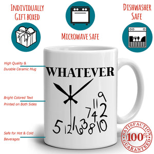 Funny Retirement Whatever Clock Coffee Mug Retired Gifts for Retirees Men, Printed on Both Sides!