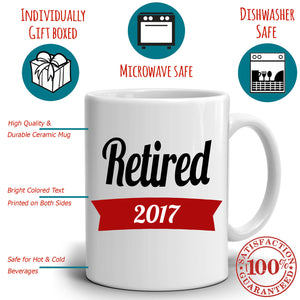 Personalized! Retired 2017 Retirement Gifts Checklist Coffee Travel Adventure Mug, Printed on Both Sides!