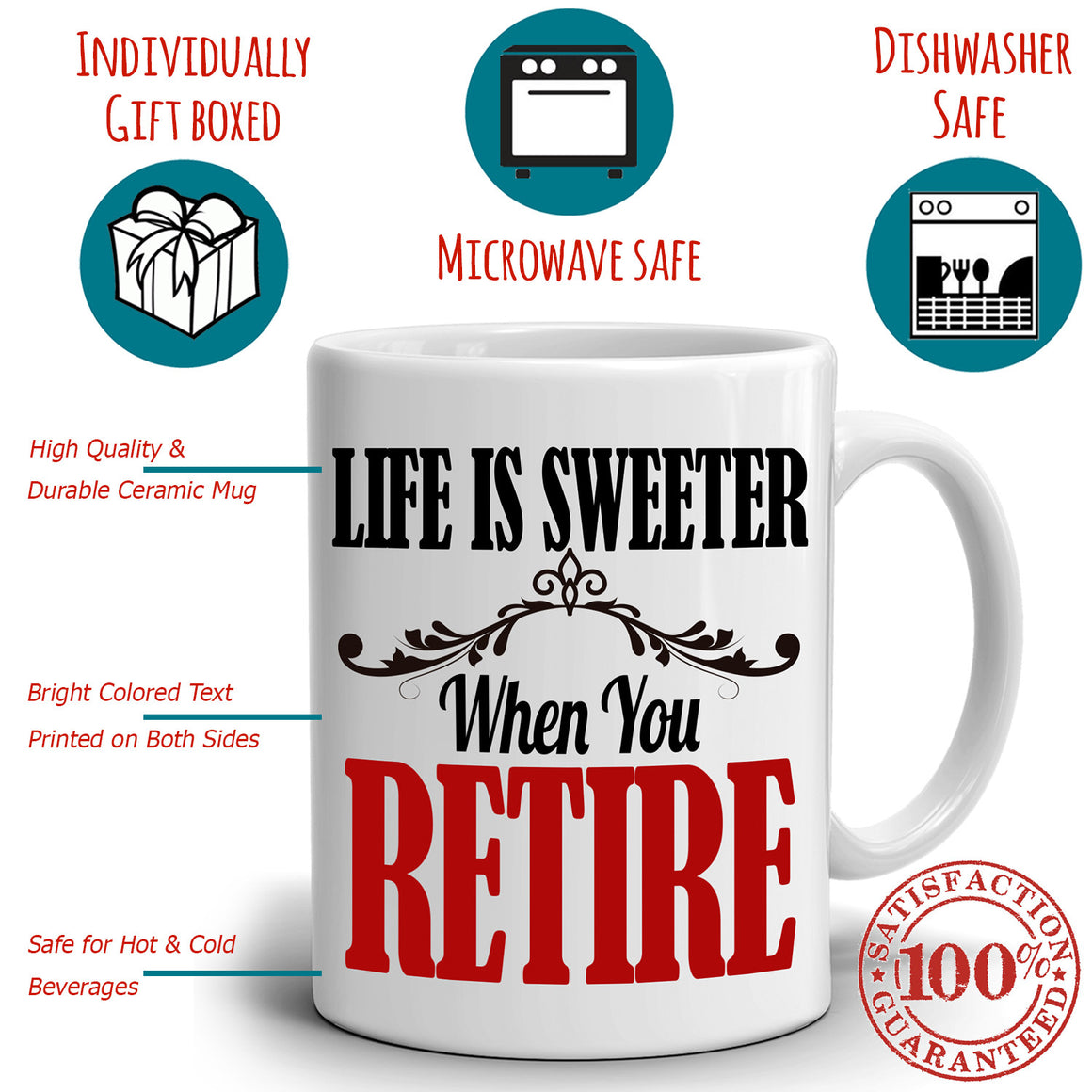 Retirement Gifts for Retiree Coffee Mug Life is Sweeter When You Retire, Printed on Both Sides!