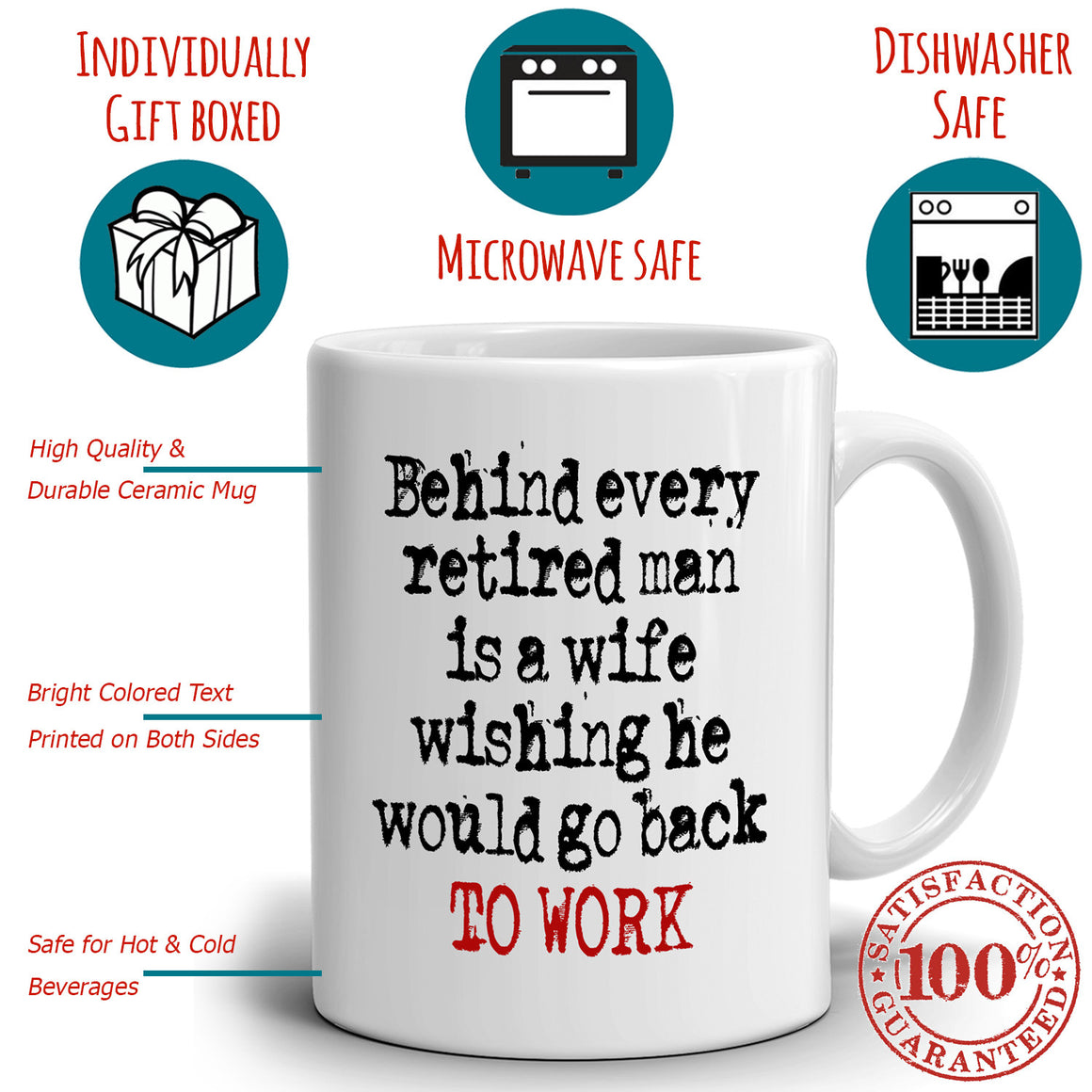 Funny Retired Husband and Wife Retirement Gifts Couples Retiree Mug, Printed on Both Sides!