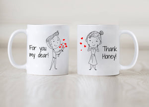 Personalized!! Flowers For You Couples Mug - Printed on Both Sides - 2 Sets