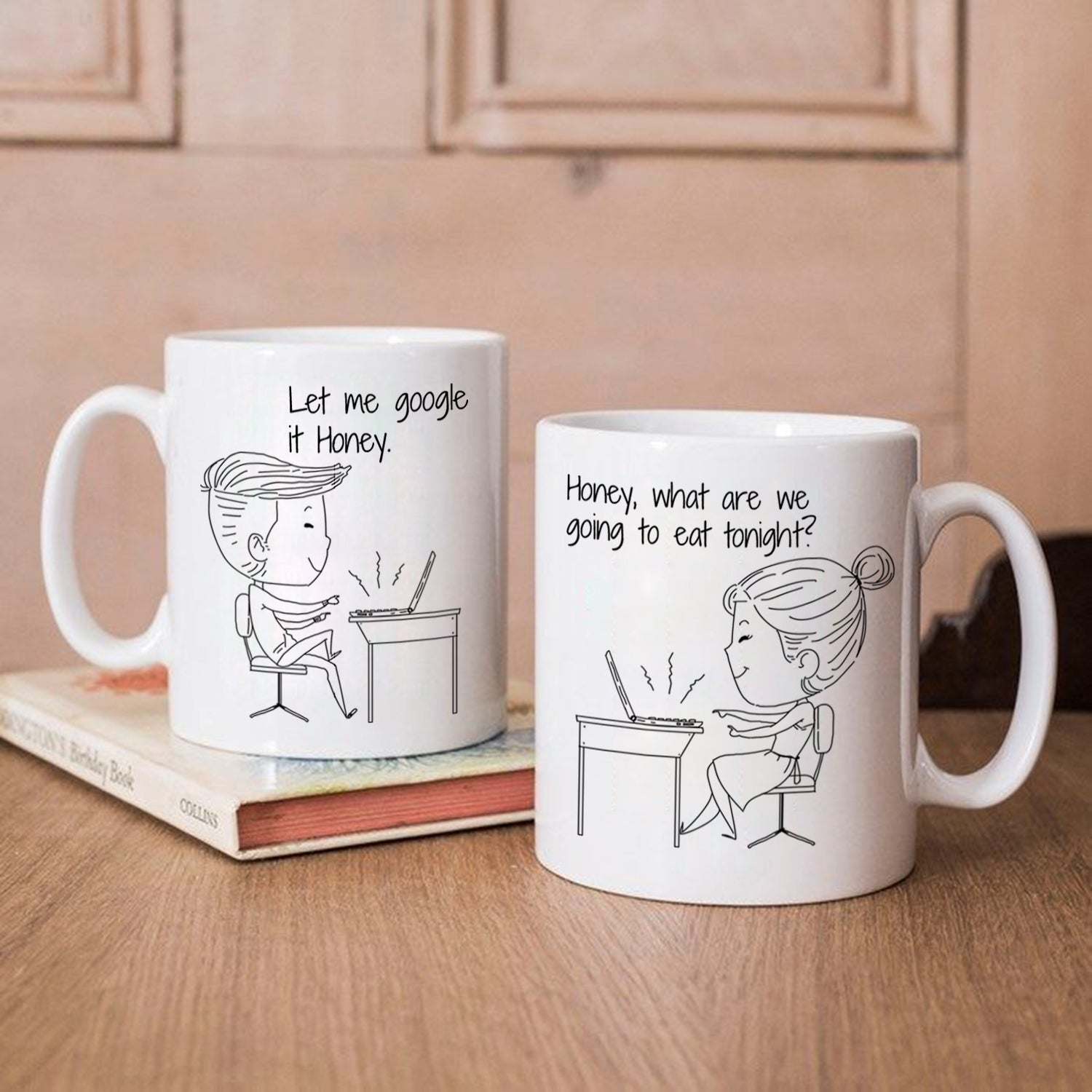 Personalized Work At Home Together Couple Mugs Printed On Both Sid Stir Crazy Gifts