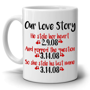 Personalized!! Anniversary Gifts for Couples, Romantic Our Love Story Coffee Mug, Printed on Both Sides!