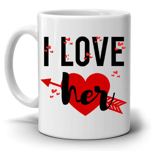 Romantic I Love Him and Her Couples Coffee Mug Set