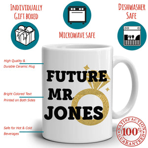 Personalized! Future Mr and Mrs Couples Marriage Gift Coffee Mug, Printed on Both Sides!