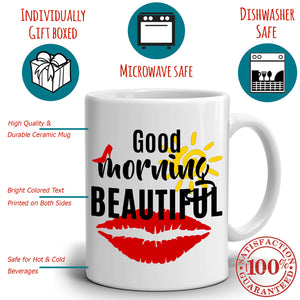 Romantic Gifts for Couples Mug, Good Morning Handsome and Beautiful, Perfect Gift for Wife and Husband Birthday, His and Her Cups, Printed on Both Sides!