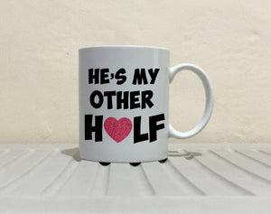 His and Her Romantic Couple Gift Mug, Perfect Husband and Wife Marriage Coffee Cups, Printed on Both Sides!