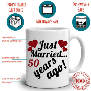Personalized! Wedding Anniversary Gifts for Couples Just Married 50 Years Ago Coffee Mug, Printed on Both Side!