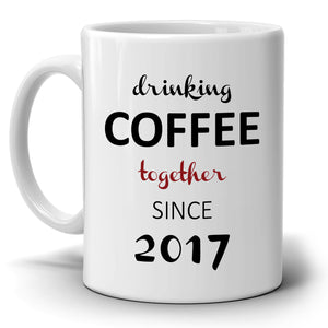 Personalized!! Drinking Coffee Together - Couple's Coffee Mug - Printed on Both Sides