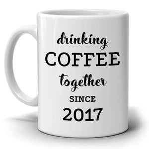 Personalized!! Drinking Coffee Together - Couple's Coffee Mug Set