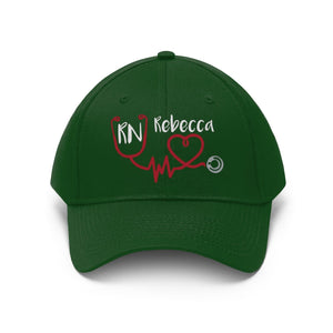 Personalized! Nurse Stethoscope Heartbeat Embroidered Twill Hat, Unisex