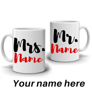 "Personalized ""Mr"" and ""Mrs"" Couple's Coffee Mug Set"