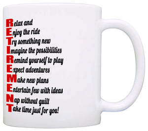 Funny Humorous Retirement Checklist Gifts Mug for Men and Women, Printed on Both Sides! - Stir Crazy Gifts