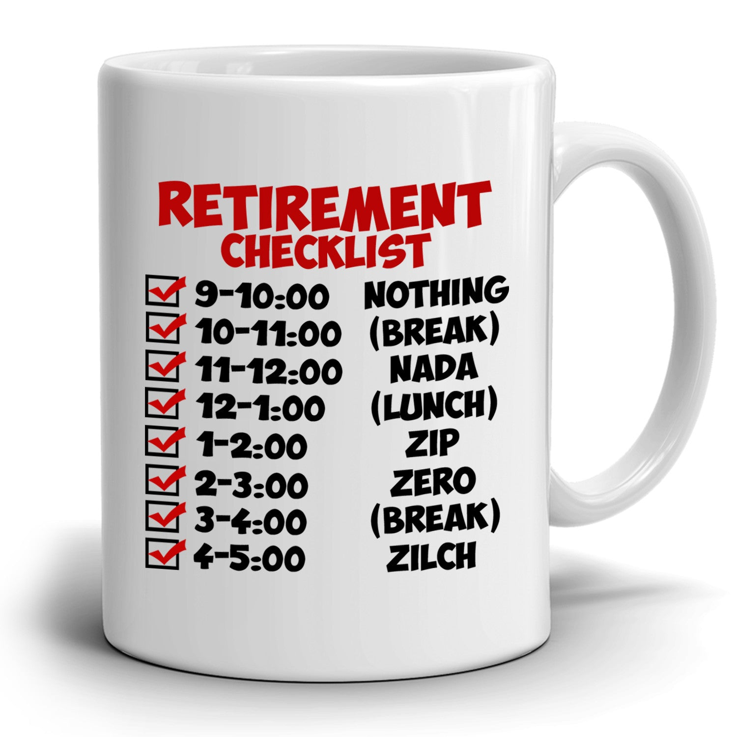 funny retirement gift checklist coffee mug, perfect humor present