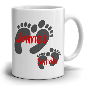 Personalized!! Father Mother Daughter Son Name Foot Print Coffee Mug Perfect Fathers Birthday and Mothers Day Gifts, Printed on Both Sides!